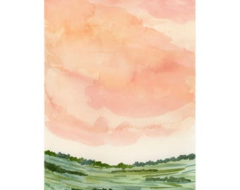 Pink Sky Watercolor Art Print, Nature Illustration Clouds Painting, Girl Nursery Wall Art, Landscape Watercolor Print, Giclee Fine Art Print