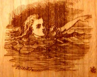 """Alice's Adventures in Wonderland Engraved Book Page:  Chapter 2 """"The Pool of Tears"""",  Solid Cherry, Lewis Carroll, Sir John Tenniel"""