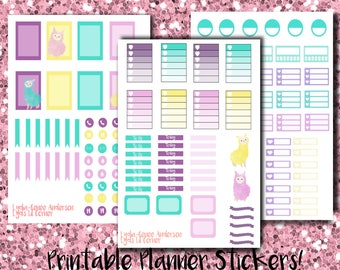EC Printable Stickers: Watercolor Llamas Full Kit (Three Pages)