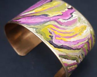 Hand painted art bracelet/handpainted unique cuff brass
