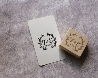 Custom wedding stamp, Personalized invitation wood stamp, open wreath initials stamp,  save the date stamp