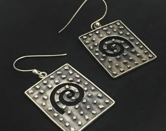 Moroccan Rectangle Snail Sterling Silver Earrings