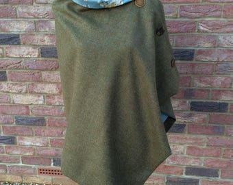 Stylish wool tweed poncho.