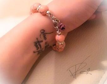 Pink Howlite and Onyx Gemstone Charm Bracelet