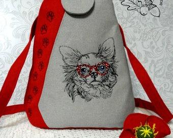 Textile Backpack Embroidered Shoulder Bags Multifunctional Travel Backpack Bag for Girls Backpack for School Women's Backpacks Red Dog