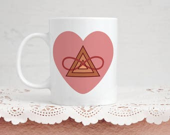 Poly Triad Romantic Mug - Polyamorous Triad Heart - 11 Ounce Coffee & Tea Gift Perfect for Polyamory Anniversary Valentine's Day