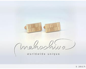 wooden cuff links wood alder maple handmade unique exclusive limited jewelry - mahoshiva k 2017-103