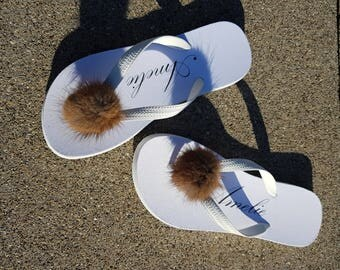 thongs, flip flops, slippers, women, M, 39, whith, with real recycled fur.