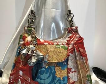 "Japanese Obi Handbag Series in ""Blue Roses"""