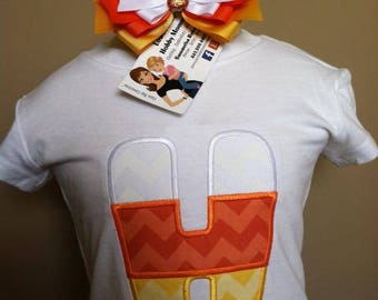 Personalized Candy Corn Alpha/Initial Shirt