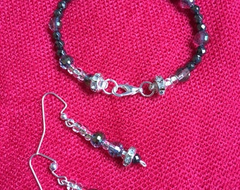 Hematite and Crystal Bracelet and Earrings