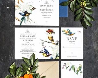 Set of 4 Wedding Invitation Printable, Botanical Bird