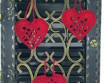 3 Nostalgic vintage shabby hearts to hang-deco-div. Colors