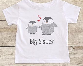 Big Sister or Big Brother Penguins with hearts - Big Cousin Baby bodysuit or Toddler Youth Shirt Baby pregnancy birth announcement surprise