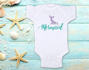 Mermaid Tail Purple Teal colors - ocean water beach cute Baby bodysuit Toddler Youth Shirt - baby shower gift surprise