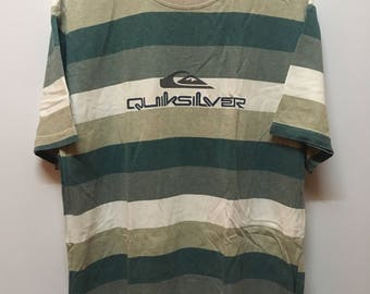 Vintage 90s Quicksilver Surf Striped Tee Tops Tshirt