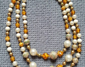Vintage faux pearl, bead and marbled glass necklace.
