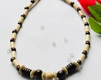 Light and Dark Wooden Bead Necklace