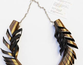 Choker necklace from recycled inner tube painted with metal bronze color. Elegant and cool. Ethnic. Perfect gift for her and mother's day
