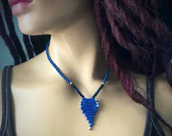 Blue Wave macrame necklace