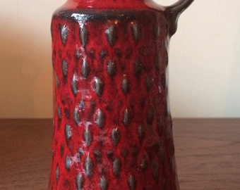 Jasba vase German vase Fat Lava vase , Red Vase, vintage vase