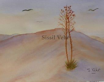 original watercolor painting, landscape, desert, watercolor painting, landscape, desert