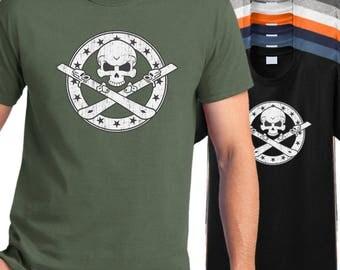 Snow Ski T shirt - snow skier skull crossbones t-shirt, snow skiing tee shirt, winter shirt
