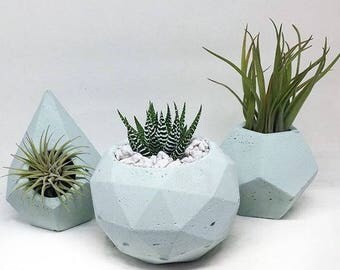 Mint Geosphere Concrete Planter