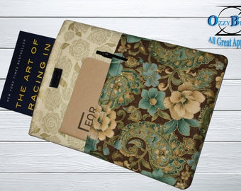 Book Sleeve, Great for protecting your tablets, Floral fabric, Front pocket is perfect for bookmarks, pens, or sticky tabs