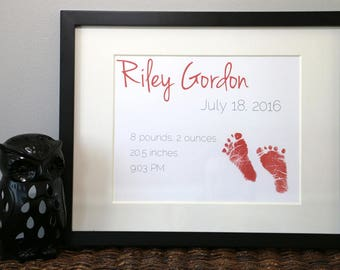 Custom Personalized Baby Footprint Birth Statistics Nursery Decor Art Print Horizontal
