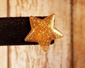 Gold Glitter Resin Star Stud Earrings
