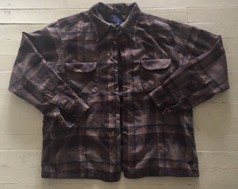 1960s Vintage Pendleton Brown Plaid Board Shirt XL