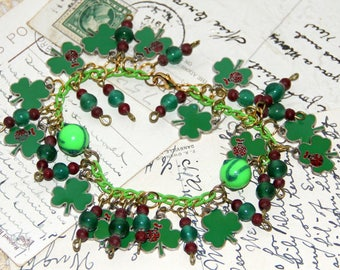 Upcycled St. Patrick's Day Charm Bracelet,Recycled Enamel Shamrocks,Handmade Green Chain,Ladybug Beads,Irish Glass Lobster Claw Clasp