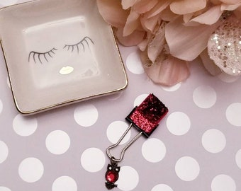 Birthstone Owl Sparkled Red; pen clip, pen loop