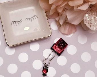 Birthstone Owl Sparkled Red; pen clip, pen loop