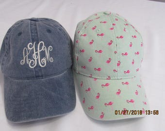 Monogrammed mint green w/ pink flamingos twill ladies baseball cap/hat. Perfect accessory update for your spring and summer wardrobe!