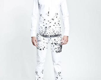 ORFEO printed blouse 'Walking out of Shadow'