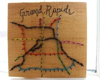 Grand rapids map string art
