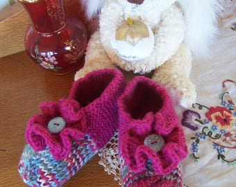 Girls Slippers Hand Knitted