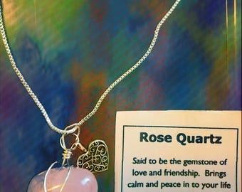 Rose quartz healing crystal necklace