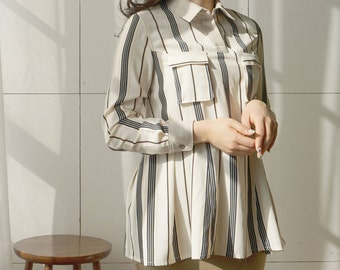 Shirt-blouse stripe ruffle w pockets