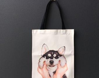 Canvas Tote Bag - Smiley Husky