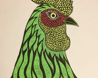 Rooster drawing, original, hand drawn