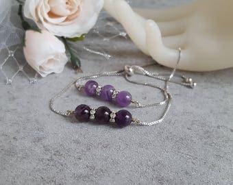 February Birthstone Amethyst Bracelet Ultra Violet Purple Gemstone Bracelet Slider Bolo Bracelet Beaded Bracelet Gift Women Healing Energy