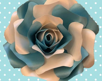 Blue and Cream shimmer 3D rose on a blue and white polka dot canvas
