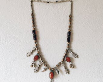 Tribal Silver Necklace with Amber Stones and Wooden Beads