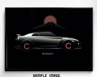 DIGITAL PRINTABLE car ART, Nissan gt-r 2017, Modern sport, Minimal style, Wallart, Poster, High resolution, Instant download, Minimalism
