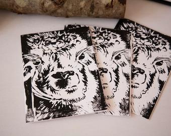 Alpaca Greetings Cards, Hand Printed, Linocut