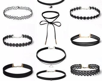 10Pcs / set Black Velvet Choker Necklaces For Women Pendant Necklace Fashion Girls Punk Gothic Cho choker necklace