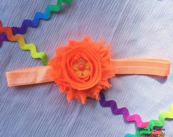 Neon Orange Flower Headband